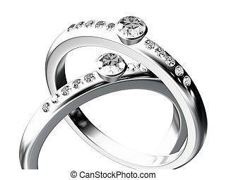 серебряный, свадьба, кольцо