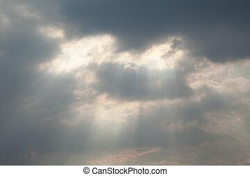 серый, облако, небо, солнечный луч, через