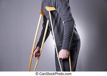 серый, человек, задний план, crutches