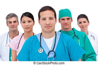 серьезный, медицинская, команда, портрет