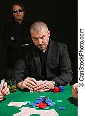 серьезный, покер, игрок