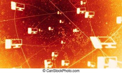 сеть, огонь, l, вращающийся, компьютер, hd
