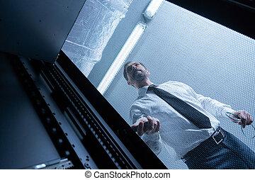 сеть, checking, сервер, техник, серьезный, красивый