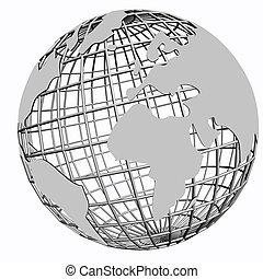 сеть, isolated, земной шар, серебряный