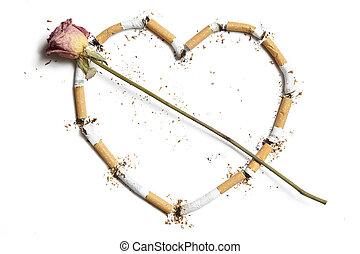 сигарета, stubs, в, сердце, форма, with, роза
