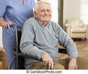 сиделка, сидящий, инвалидная коляска, отключен, за, старшая, человек