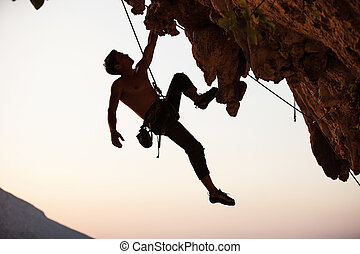 силуэт, альпинист, камень