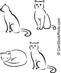 силуэт, кот