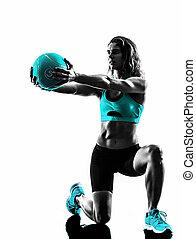 силуэт, мяч, exercises, женщина, лекарственное средство, фитнес