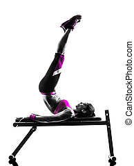 силуэт, нажмите, скамейка, exercises, женщина, фитнес, crunches
