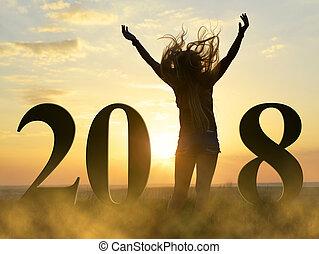 силуэт, , радостный, девушка, в, , праздник, of, , новый, год, 2018.