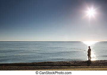 силуэт, стенды, рыбак, на берег, fishes, человек