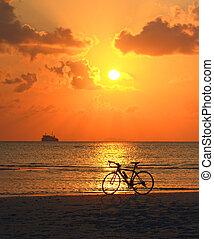силуэт, of, байк, на, , пляж, в, золотой, закат солнца, задний план