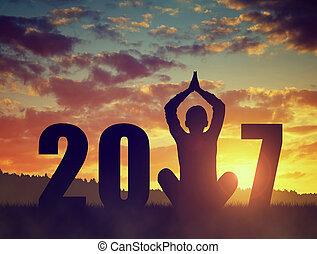 силуэт, of, , девушка, practicing, йога, в, , новый, год