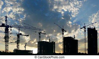 силуэт, of, здание, houses, and, cranes, время, упущение