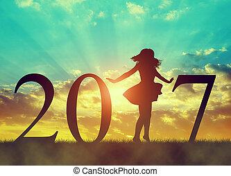 силуэт, of, , счастливый, девушка, танцы, в, праздник, of, , новый, год, 2017