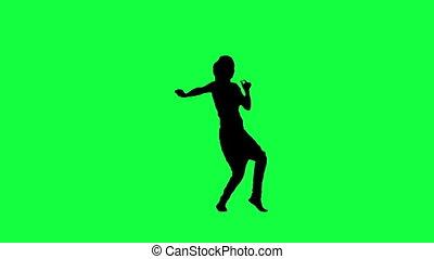 , силуэт, of, , танцы, женщина