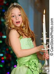симпатичная, блондин, child-girl, на, , задний план, of, , новый, год, дерево