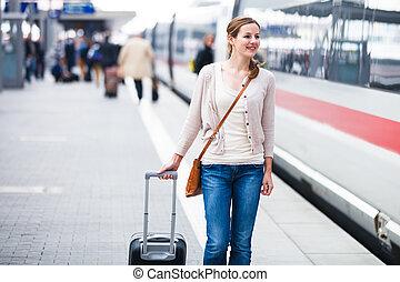 симпатичная, молодой, женщина, в, поезд, станция, (color,...