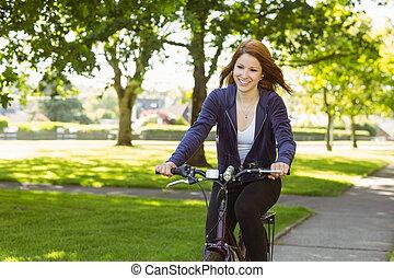 симпатичная, рыжеволосый, cycling, байк