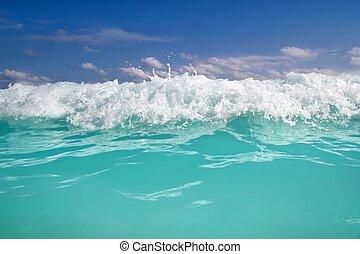 синий, бирюзовый, карибский, пена, волна, воды, море