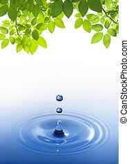 синий, воды, белый, падение, задний план
