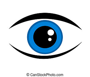 синий, глаз, значок