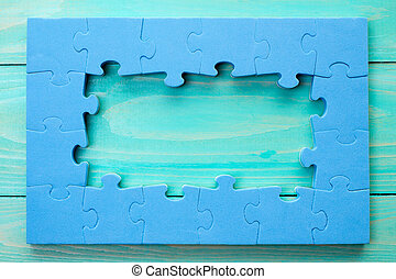 синий, деревянный, головоломка, рамка, поверхность