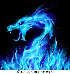 синий, дракон, огонь