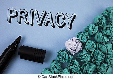 синий, информация, crumpled, концепция, privacy., личный, текст, мячи, секрет, следующий, matters, написано, бумага, правильно, задний план, одноцветный, маркер, почерк, держать, it., имея в виду