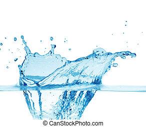 синий, искры, белый, воды, задний план