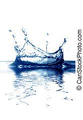 синий, искры, воды