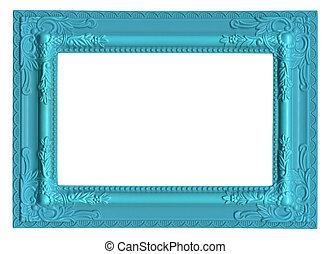 синий, картина, рамка