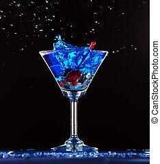 синий, коктейль, splashing