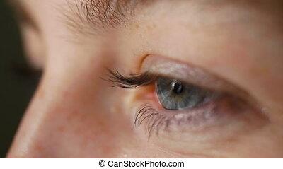 синий, красивая, женщина, глаз, isolated, молодой, черный, студия