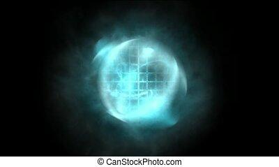 синий, кружиться, туманность, лазер