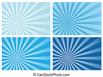 синий, луч, солнце, взрыв, легкий