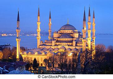 синий, мечеть, стамбул