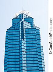 синий, мойка, офис, строительные леса, стакан, окно, башня