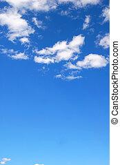 синий, небо, облачный