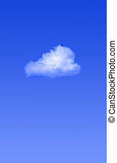 синий, один, небо, облако