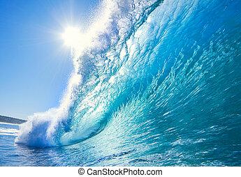 синий, океан, волна
