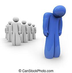 синий, подавленный, -, один, человек, чувство