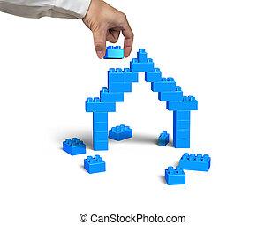 синий, полный, дом, рука, форма, держа, блок