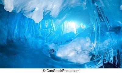синий, полный, пещера, лед, антарктида, icicles, фея