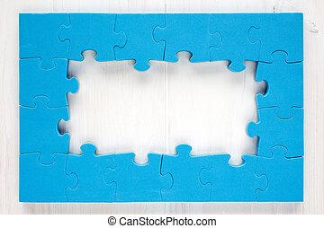 синий, рамка, головоломка