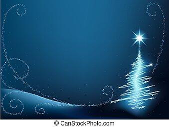 синий, рождество, дерево