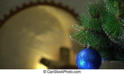 синий, рождество, мяч, камин, задний план