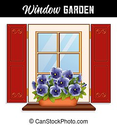 синий, сад, плантатор, небо, анютины глазки, окно, глина, цветы