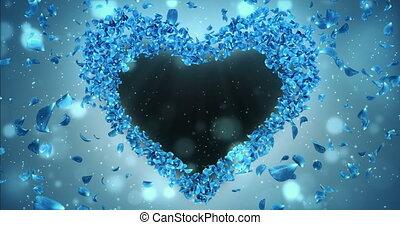 синий, сердце, цветок, роза, форма, petals, штейн, sakura, альфа, заполнитель, петля, 4k